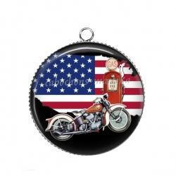 Pendentif Cabochon Argent - moto