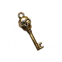 Breloque clé métal doré