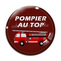 Cabochon Verre - pompier au top