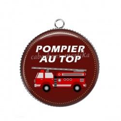 Pendentif Cabochon Argent - pompier au top