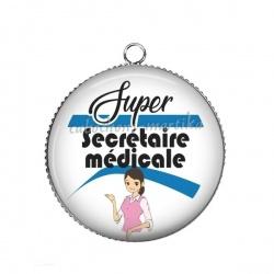 Pendentif Cabochon Argent - super secrétaire médicale