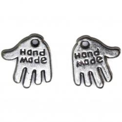 10 breloques main métal argenté