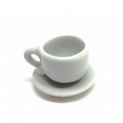 Petite tasse et sa soucoupe en porcelaine blanche pour création polymère