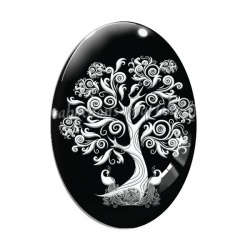 Cabochon Verre Ovale - arbre