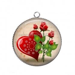 Pendentif Cabochon Argent - coeur