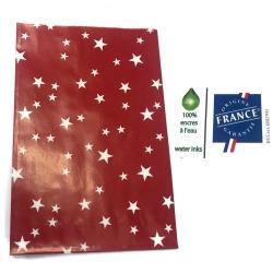 10 Pochettes cadeau rouge étoile blanche