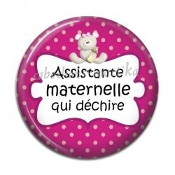 Cabochon Résine - assistante maternelle qui déchire