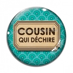 Cabochon Verre - cousin qui déchire