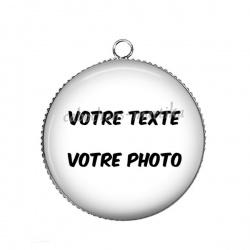 Pendentif Cabochon Argent - votre texte