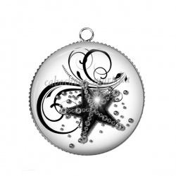 Pendentif Cabochon Argent - étoile de mer