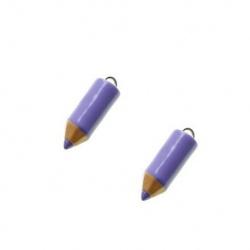 1 breloque crayon violet parme
