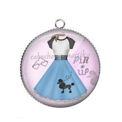 Pendentif Cabochon Argent - robe pin up