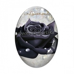 Cabochon Verre Ovale - fleur rose