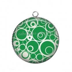 Pendentif Cabochon Argent - rond spirale