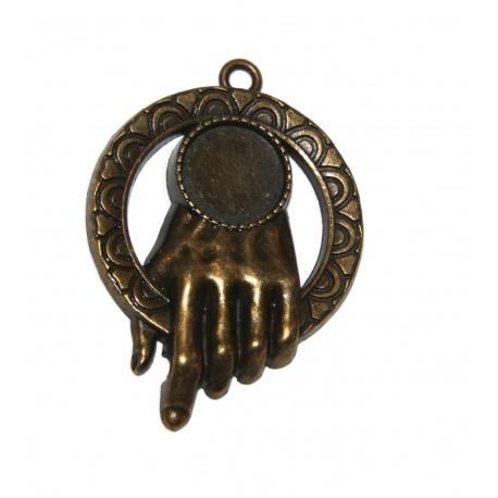 Grande pendentif main, support pour cabochon rond 14 mm en métal bronze