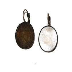 1 paire dormeuse cabochon ovale 25 x 18 mm