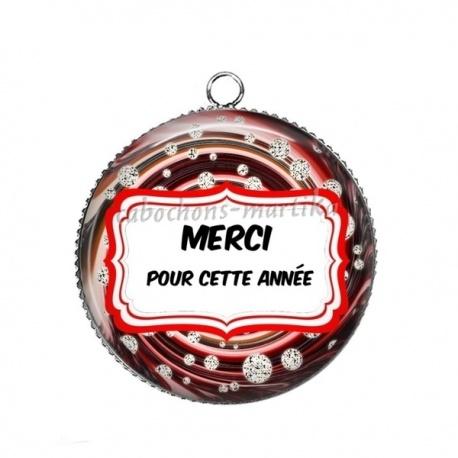 Pendentif Cabochon Argent - MERCI POUR CETTE ANNÉE