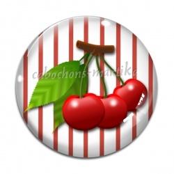 Cabochon Verre - cerise
