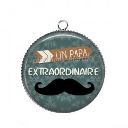Pendentif Cabochon Argent - papa extraordinaire