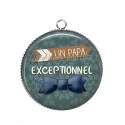 Pendentif Cabochon Argent - papa exceptionnel
