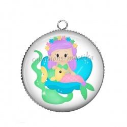 Pendentif Cabochon Argent - petite siréne fairy