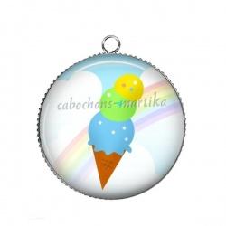 Pendentif Cabochon Argent - glace