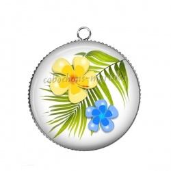 Pendentif Cabochon Argent - fleur