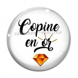 Cabochon Verre - copine en or