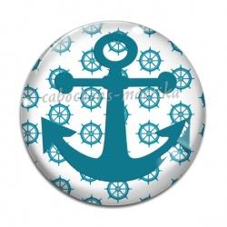 Cabochon Verre - ancre bateau