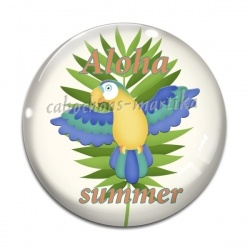 Cabochon Verre - oiseau aloha summer
