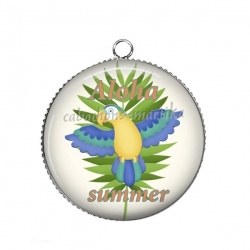 Pendentif Cabochon Argent - oiseau aloha summer
