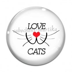 Cabochon Verre - love cats