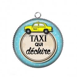 Pendentif Cabochon Argent - taxi