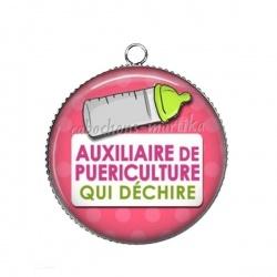Pendentif Cabochon Argent - auxiliaire puericultrice