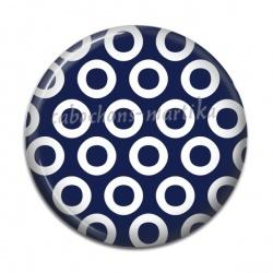 Cabochon Résine - pois fond bleu