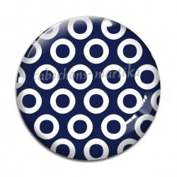 Cabochon Verre - pois fond bleu