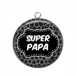 Pendentif Cabochon Argent - super papa