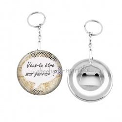 Porte clés décapsuleur - veux tu être mon parrain