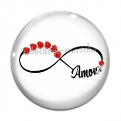 Cabochon Verre - signe infini amour