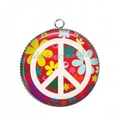 Pendentif Cabochon Argent - peace