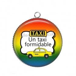 Pendentif Cabochon Argent - un taxi formidable