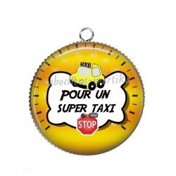 Pendentif Cabochon Argent - pour un super taxi