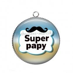 Pendentif Cabochon Argent - super papy