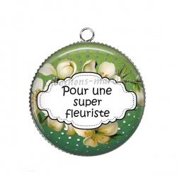 Pendentif Cabochon Argent - pour une super fleuriste