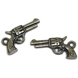 breloque pistolet métal argenté