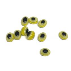10 perles ovale oeil jaune