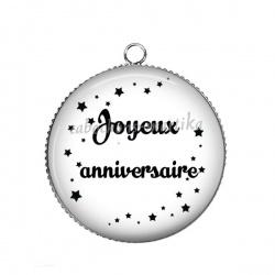 Pendentif Cabochon Argent - joyeux anniversaire