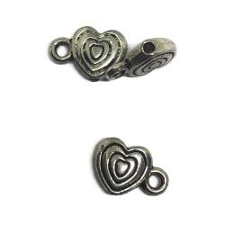 perles coeur support breloque métal argenté