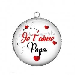 Pendentif Cabochon Argent - je t'aime papa