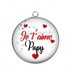 Pendentif Cabochon Argent - je t'aime papy